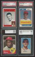 Lot of (4) Vintage Graded Baseball Cards with 1974 Topps Traded #51T Bobby Heise (PSA 6), 1972 Topps #344 Dave McNally (PSA 6), 1963 Topps #32 Tony Gonzalez (BVG 5.5) & 1969 MLB PhotoStamps #205 Mike McCormick (BCCG 10) at PristineAuction.com