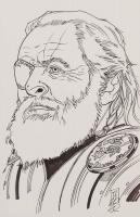 "Tom Hodges - Odin - ""Thor"" - Marvel Comics - Signed ORIGINAL 5.5"" x 8.5"" Drawing on Paper (1/1) at PristineAuction.com"