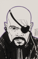 "Tom Hodges - Nick Fury - Marvel Comics - Signed ORIGINAL 5.5"" x 8.5"" Drawing on Paper (1/1) at PristineAuction.com"