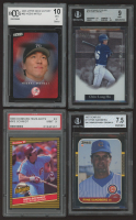 Lot of (4) Graded Baseball Cards with 2003 Upper Deck Victory #62 Hideki Matsui RC (BCCG 10), 1986 Donruss Highlights #4 Mike Schmidt (PSA 9), 2004 Bowman Sterling #CH Chin-Lung Hu RC (PSA 9) & 1987 Donruss #77 Ryne Sandberg (BVG 7.5) at PristineAuction.com