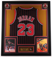 Michael Jordan 32x36 Custom Framed Jersey Display with Hall of Fame Pin at PristineAuction.com