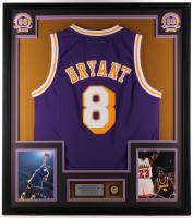 Kobe Bryant 32x36 Custom Framed Jersey Display with Lakers Pin at PristineAuction.com