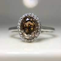 1.76ct Fancy Orange Brown & White Diamond Halo Engagement Ring 14kt White Gold (GIA Certified) at PristineAuction.com