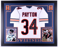 "Walter Payton Signed 35x43 Custom Framed Jersey Inscribed ""Sweetness"", ""75-87"", ""Super Bowl XX"" & ""16,726"" (Payton Hologram) at PristineAuction.com"