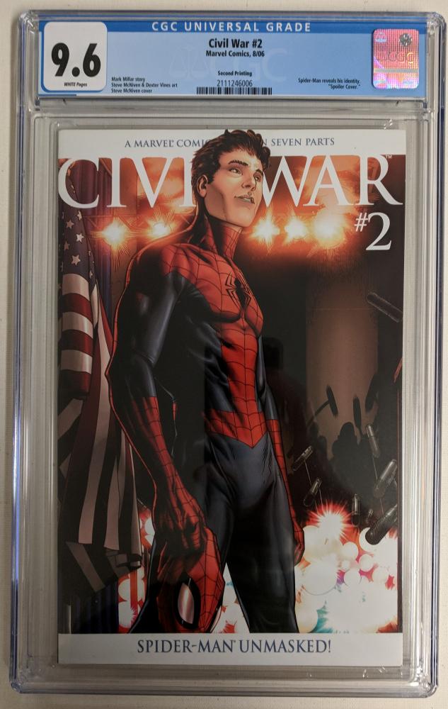 "2006 ""Civil War"" Issue #2 Second Printing Marvel Comic Book (CGC 9.6) at PristineAuction.com"