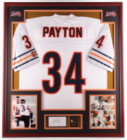 Walter Payton Signed 32x36 Custom Framed Cut Display With Super Bowl XX Pin (PSA Authentic) at PristineAuction.com