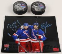 Lot of (3) Rick Nash & Chris Kreider Signed Rangers Logo Items with (2) Hockey Pucks & 8x10 Photo (Nash & Kreider COA) at PristineAuction.com