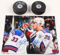 Lot of (3) Cam Talbot & Chris Kreider Signed Rangers Logo Items with (2) Hockey Pucks & 8x10 Photo (Talbot & Kreider COA) at PristineAuction.com