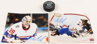 Lot of (3) Mike Condon Signed Canadiens Logo Items with Hockey Puck & (2) 8x10 Photos (Condon COA) at PristineAuction.com