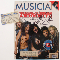 "Lot of (2) Aerosmith Items with 2001 ""Just Push Play"" Tour Ticket & 1990 Musician Magazine Signed By (5) with Steven Tyler, Tom Hamilton, Joey Kramer, Brad Whitford & Joe Perry (Beckett LOA) at PristineAuction.com"