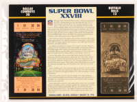 Super Bowl XXVIII Commemorative 9x12 Score Card Display with Super Bowl Ticket & 23kt Gold Ticket at PristineAuction.com