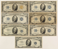 Lot of (7) $10 Ten-Dollar U.S. Silver Certificates with 1934, 1934-A Blue Seal, 1934-A North Africa Gold Seal, 1934-C, 1934-D, 1953, & 1953-A at PristineAuction.com