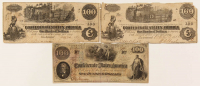 Lot of (3) 1862 $100 One Hundred-Dollar Confederate Bank Notes with T-39, T-40, & T-41 at PristineAuction.com