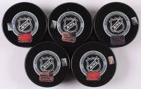 Lot of (5) Signed Boston Bruins Logo Hockey Pucks with Frank Vatrano, Matt Beleskey, Kevan Miller, Landon Ferrarro & Jimmy Hayes (Your Sports Memorabilia Store COA) at PristineAuction.com