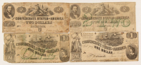 Lot of (4) 1862 $1 & $2 Confederate Bank Notes with T-42, T-43, T-44, & T-45 at PristineAuction.com