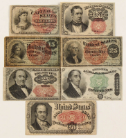 Lot of (7) 1869-1876 U.S. Fractional Currency Bank Notes with (2) 10¢ (Fourth & Fifth Issue), 15¢ (Fourth Issue), (2) 25¢ (Fourth & Fifth Issue), & (2) 50¢ (Fourth & Fifth Issue) at PristineAuction.com