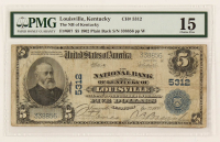 1902 $5 Five-Dollar U.S. National Currency Large-Size Bank Note - The National Bank of Kentucky of Louisville, Kentucky (PMG 15) at PristineAuction.com