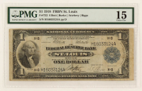 1918 $1 One-Dollar U.S. National Currency Large-Size Bank Note - The Federal Reserve Bank of St. Louis, Missouri (PMG 15) at PristineAuction.com