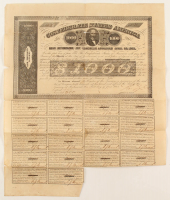 1863 C.S. Cotton $1,000 One-Thousand Dollar Confederate States of America Richmond CSA Bond with (18/20) Coupons at PristineAuction.com