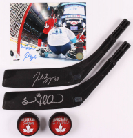 Lot of (5) Brad Marchand & Patrice Bergeron Signed Team Canada Logo Items with (2) Hockey Pucks, (2) Stick Blades, & (1) 8x10 Photo (Marchand COA & Bergeron COA) at PristineAuction.com