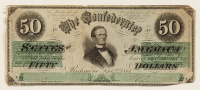 1964 $50 Fifty-Dollar Confederate States of America Richmond CSA Bank Note at PristineAuction.com