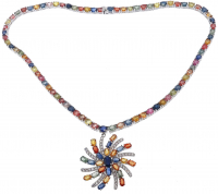 40.00ct Multi-Colored Sapphire, Ruby, & Cz Necklace (GAL Appraisal) at PristineAuction.com