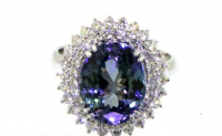 7.83ct Tanzanite & Diamond Ring Halo 14kt White Gold (GIA Cert) at PristineAuction.com
