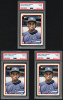 Lot of (3) Deion Sanders 1989 Topps Traded #110T RC (PSA 9) at PristineAuction.com