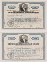 "Lot of (2) Vintage 1940 ""The New York Central Railroad Company"" (100) Shares Stock Certificates at PristineAuction.com"