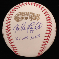 """Mike Lowell Signed Red Sox 2007 World Series Logo Baseball Inscribed """"'07 WS MVP"""" (JSA COA) at PristineAuction.com"""