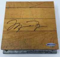 "Michael Jordan Signed ""Three Peat"" 6x6 Game-Used LE Floor Piece (UDA COA) at PristineAuction.com"