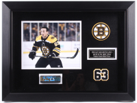 "Brad Marchand Signed Bruins 16.5x22 Custom Framed Game-Used Hockey Stick Piece Display Inscribed ""Game Used"" (Marchand COA) at PristineAuction.com"