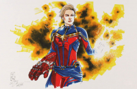 "Tom Hodges - Captain Marvel - Marvel Comics - Signed 11"" x 17"" Lithograph LE #/25 (PA COA) at PristineAuction.com"