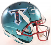 Eddie George Signed Titans Full-Size Authentic On-Field Chrome Helmet (Beckett COA) at PristineAuction.com