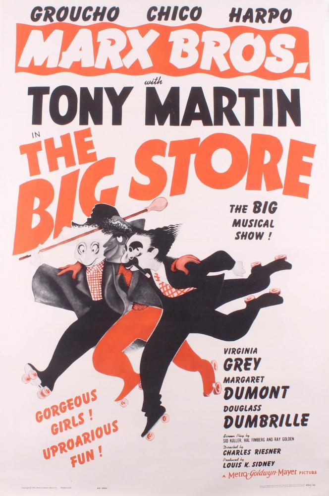 """Marx Bros. - The Big Store"" 30.75x45.25 Poster on Cavas at PristineAuction.com"