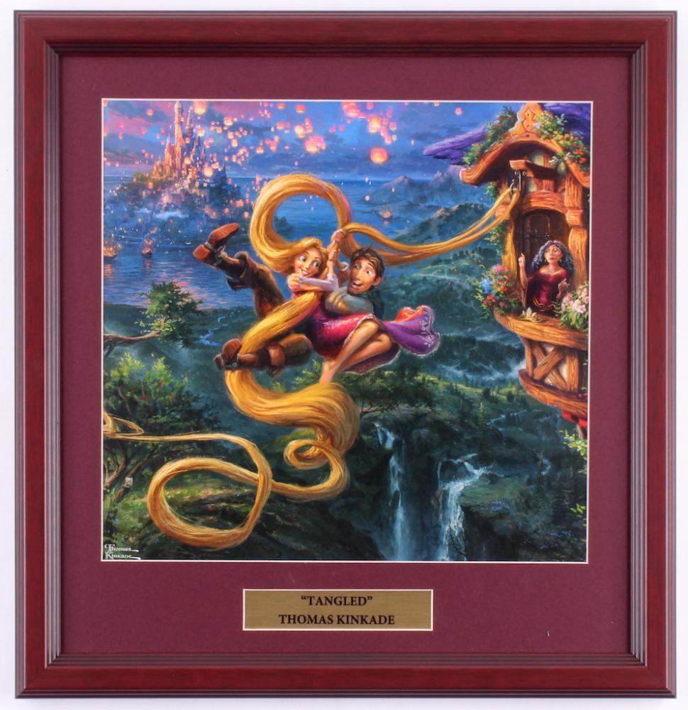 "Thomas Kinkade Walt Disney's ""Tangled"" 15.5x16 Custom Framed Print Display at PristineAuction.com"