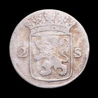 1775 Dutch Republic, Holland - 2 Stuiver Colonial Silver Coin at PristineAuction.com