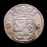 1757 Dutch Republic, Holland - 2 Stuiver Colonial Silver Coin at PristineAuction.com