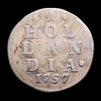 1757 Dutch Republic, Holland - 2 Stuiver Colonial Silver Coin at PristineAuction.com