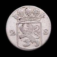 1763 Dutch Republic, Holland - 2 Stuiver Colonial Silver Coin at PristineAuction.com