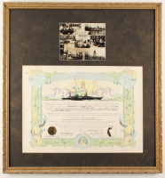 "Franklin D. Roosevelt Signed ""King Neptune's Empire"" 27x29 Custom Framed Navy Certificate (JSA ALOA) at PristineAuction.com"