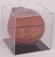 Larry Bird Signed NBA Basketball with Celtics Logo Display Case (PSA COA & Bird Hologram) at PristineAuction.com