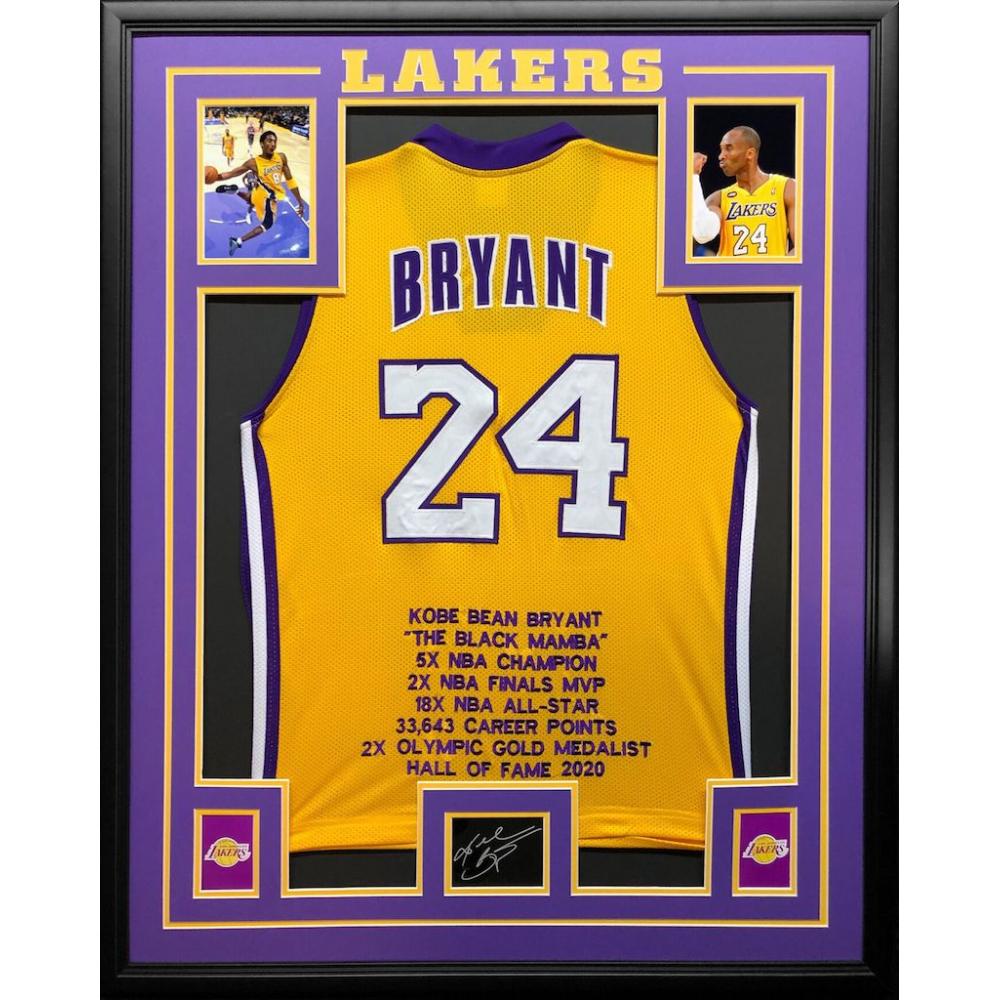 Kobe Bryant 34.5x42.5 Custom Framed Stat Jersey | Pristine Auction