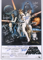 """""""Star Wars"""" 27x40 Movie Poster Cast-Signed by (11) with Harrison Ford, Mark Hamill, Carrie Fisher, Peter Mayhew, Anthony Daniels with Multiple Inscriptions (Beckett LOA) at PristineAuction.com"""
