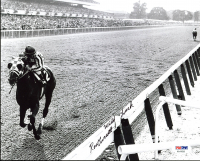 """Ron Turcotte Signed 1973 Belmont Stakes Secretariat 8x10 Photo Inscribed """"With Luck"""" (PSA COA) at PristineAuction.com"""