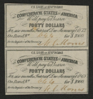 Uncut Sheet of (2) 1861 Confederate States of America Richmond CSA $40 Forty-Dollar Bank Note Bonds at PristineAuction.com