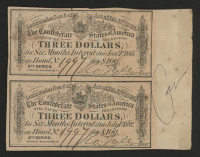 Uncut Sheet of (2) 1864 Confederate States of America Richmond CSA $3 Three-Dollar Bank Note Bonds at PristineAuction.com
