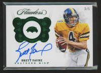 Brett Favre 2018 Panini Flawless Collegiate Team Logo Signatures Emerald #27 at PristineAuction.com