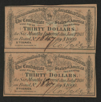 Uncut Sheet of (2) 1864 Confederate States of America Richmond CSA $30 Thirty-Dollar Bank Note Bonds at PristineAuction.com