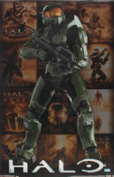 "Steve Downes Signed ""Halo"" 22.5x34 Poster Inscribed ""Master Chief"" & ""I Need A Weapon"" (Radtke Hologram) at PristineAuction.com"